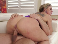 Busty mom gets all of her holes filled with hard boners by three guys