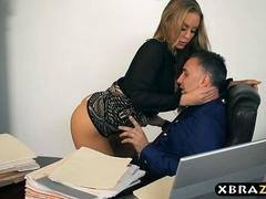 Brand-new secretary blows and makes love her boss on her first day