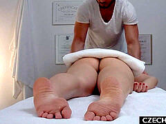 youthfull brown-haired gets the massage of her cravings