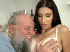 Sexy brunette Henny Ssy enjoys experience with an old man