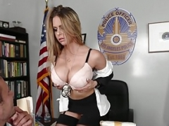 Cockriding porn model screwed in police outfit