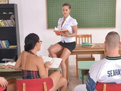 Dirty orgy in the classroom with Christen Courtney, Angel Blade and Dolly Diore