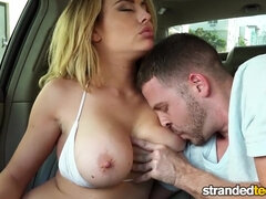 Young British teen with big natural tits sucking and fucking outdoors in car