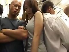 Astonishing Oriental girl with shaggy muff gets fucked in the train