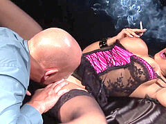 UK Smoking duo bald stud