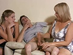Mother and also daughter jerking a couple of guys off