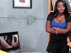 Sexy black whore gets fucked hard in the office .....