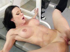 Dark haired Eager mom gets nailed so hard in the gym by her partner