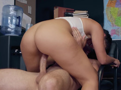 Man takes seductive babe to office to make her suck and fuck