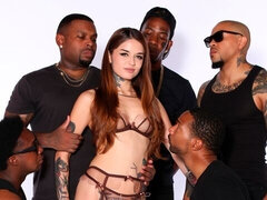 Cute white model Vanessa Vega destroyed by the blacks