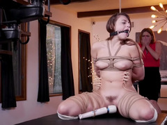 Dominant man assfucks tied up girl and focuses on her stepmom