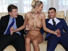 Two pals are double penetrating a happy blonde MILF Floane Russell