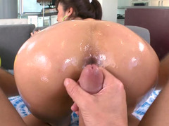Asiatic sweetie moves her tooshie in close while she is doing rectal point of view