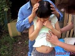 Undersized japanese babe spitroasted outdoors
