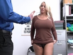 Manipulative security officer makes the full-bosomed MILF undress