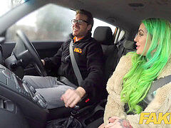 Fake Driving School Wild fuck ride for tattooed buxomy big arse ultra-cutie