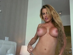 Wondrous MILF Corinna Blake with giant tits satisfies man on camera