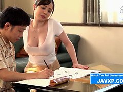 Japanese stepmother helps with homework