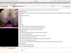 submissive teen with a perfect body submits totally to her omegle master