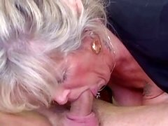 Busty aged loves young cock