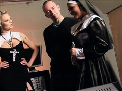 Two hot big tits nuns pleasing dirty-minded dudes in foursome orgy