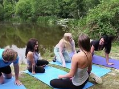 Clothed yoga brits jerk