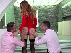 A blonde with a hot fuck hole is fucked by a couple of lads