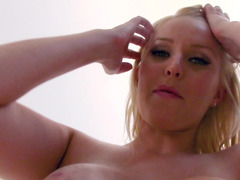 Busty blonde MILF rides stepson's fuckstick in POV style