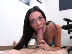 Sexy dark haired female undresses and then she gives bj a penis