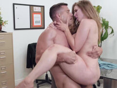 Lena Paul has her subordinate titfuck & drill her in the office