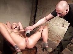 Victoria pinioned gagged and also vibed but she secretly enjoys it