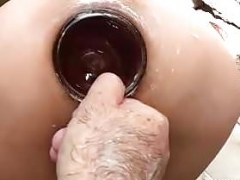 Brutal rectal fisting and bottle fucked amateur Latina