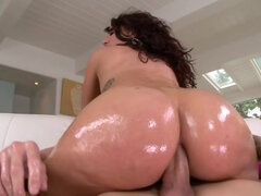 Smoking-hot woman fucked in massive oiled ass by young stallion