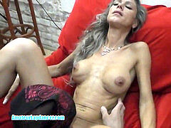 Skinny cougar lapdances, gives blow-job and pulverizes in few positions