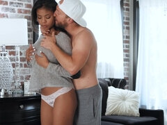 Tiny ebony takes BF's cock deep in her pussy