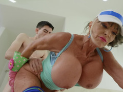 Blond grandmother with enormous juggs loves young and long cocks