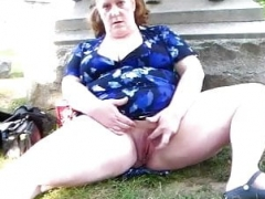 Adult bbw Grown-up plugs both holes with tools in public