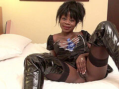 big-chested french black in leather ass bashed in a hotel room