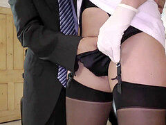 fashionable milf in uniform getting snatch fingered