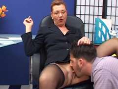 Prolapsing mature secretary bitchy