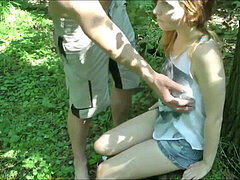 bashful 18yo gal Takes Her very first Creampie in Woods