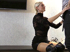 light-haired honey in thigh high shoes gets serviced