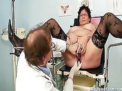 Bigtitted elder woman gyn clinic exam