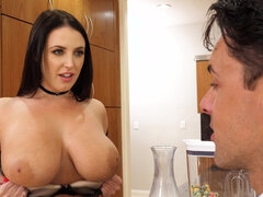 Guy daydreams about Aussie Angela fucking and taking his cream over her tits