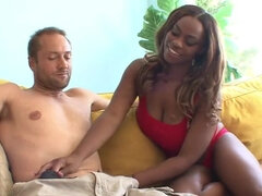 Smoking hot ebony babe in rough interracial action with cumshot