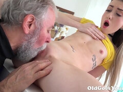 Lovely Vlada And Bearded Silver Daddy
