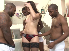 A xxx movie star gets three large black ramrods inside her wet love hole