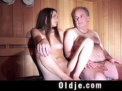 Oldguy has a fuck-a-thon escapade with the girl he meets in sauna