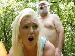 Lovita Fate took pity on old man and fucked her outdoors