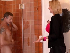 Blonde cougar makes love with stepson in the bathroom
